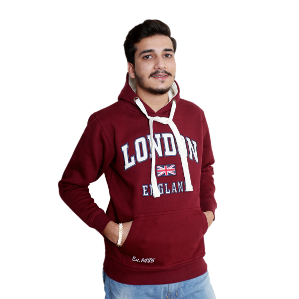 Unisex London England Hoodie Hooded Sweatshirt Maroon off white
