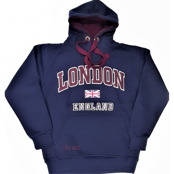 Unisex London England Hoodie Hooded Sweatshirt Navy Maroon Colour