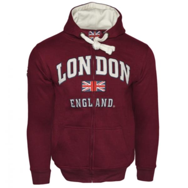 Unisex London England Zipped Hooded Sweatshirt Maroon