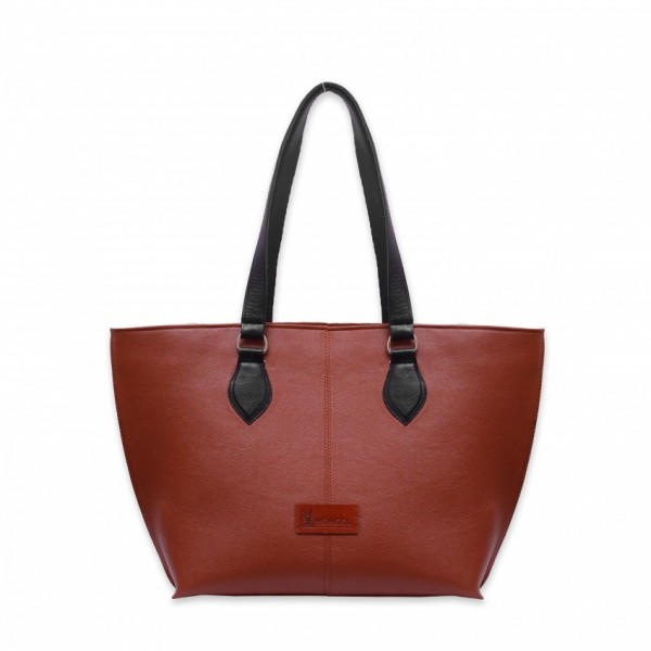 Ladies Handbag Made with original cow leather in Reddish Brown Color