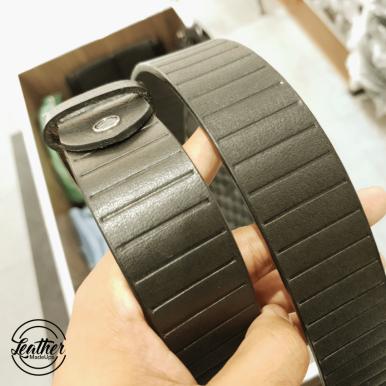 Men Leather Belt - Black Pallet Print