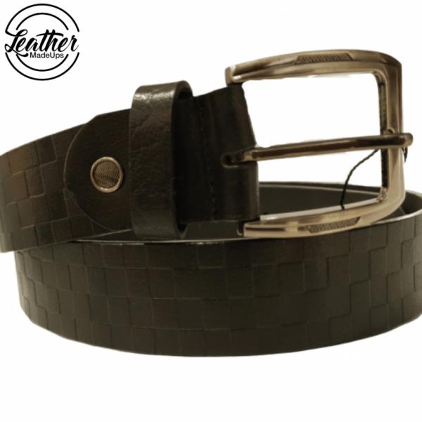 Leather belt for men - Black Check Print