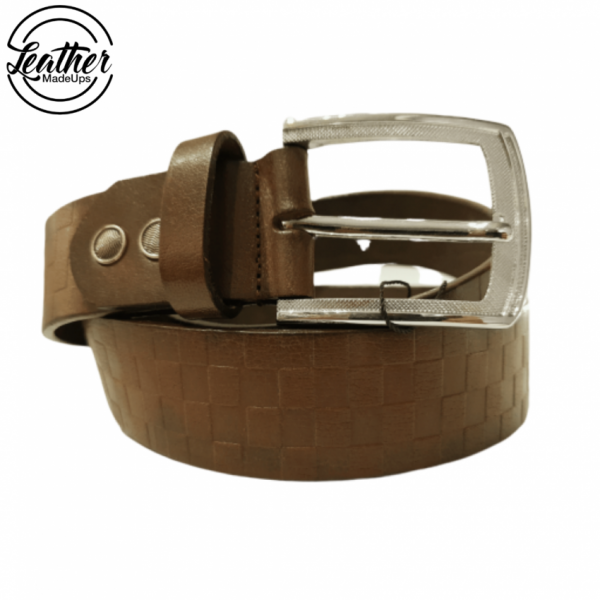 Leather belt for men - Brown Check Print