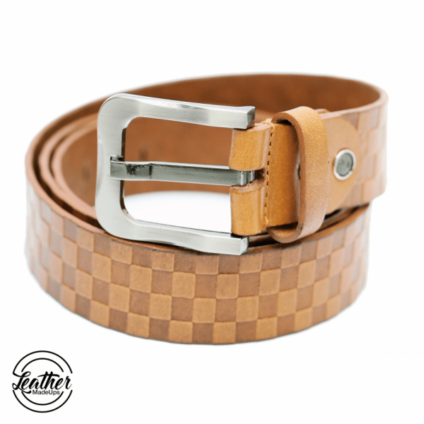 Leather belt for men - TAN Check Print