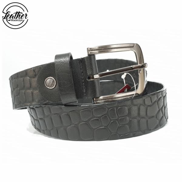 Leather belt for men - Black croco Print