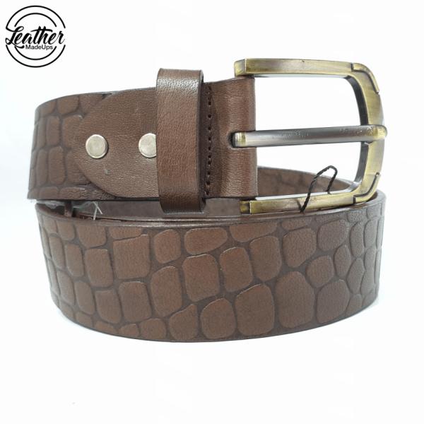 Leather belt for men - Brown croco Print