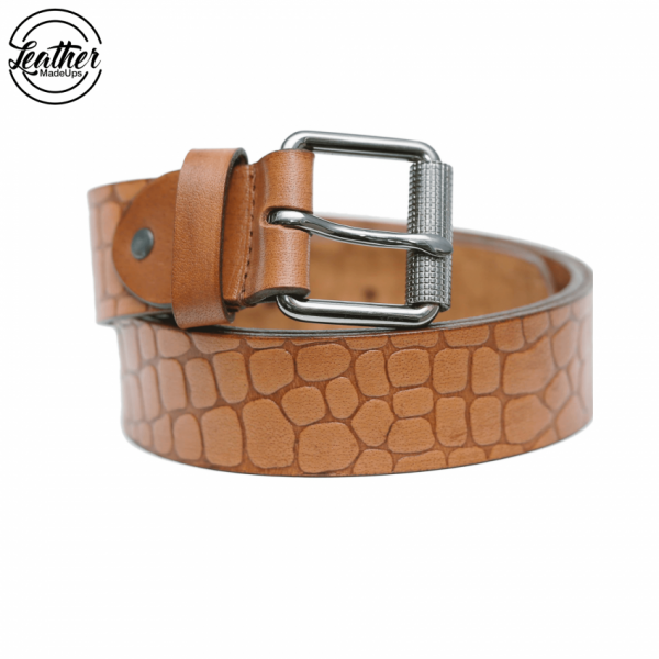 Leather belt for men - TAN croco Print