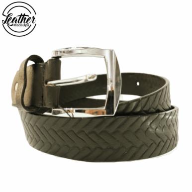 Men Leather Belt - Black Ladder Print