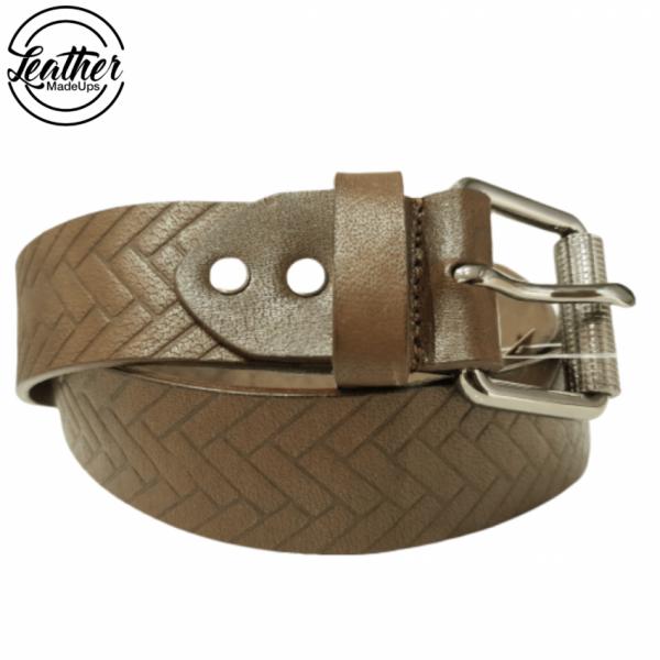 Men Leather Belt - Brown Ladder Print