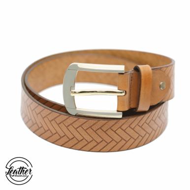 Men Leather Belt - Tan Ladder Print