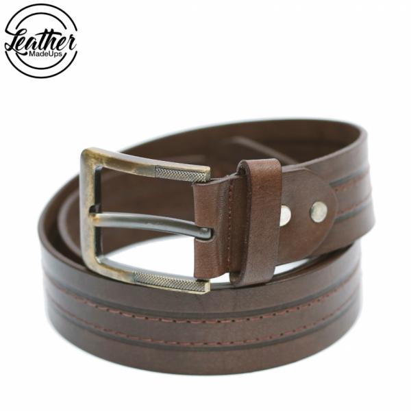 Men Leather Belt in Brown Color