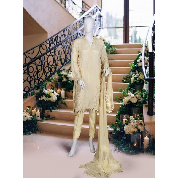 Stanning Tan Color Party Wear Suit For Women
