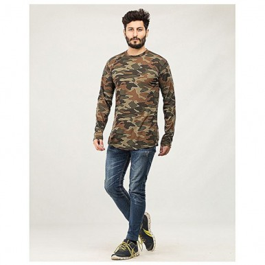 Camouflage T-Shirt for Men in Brown Colour