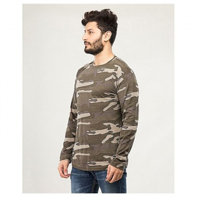 Camouflage T-Shirt for Men in Green Colour