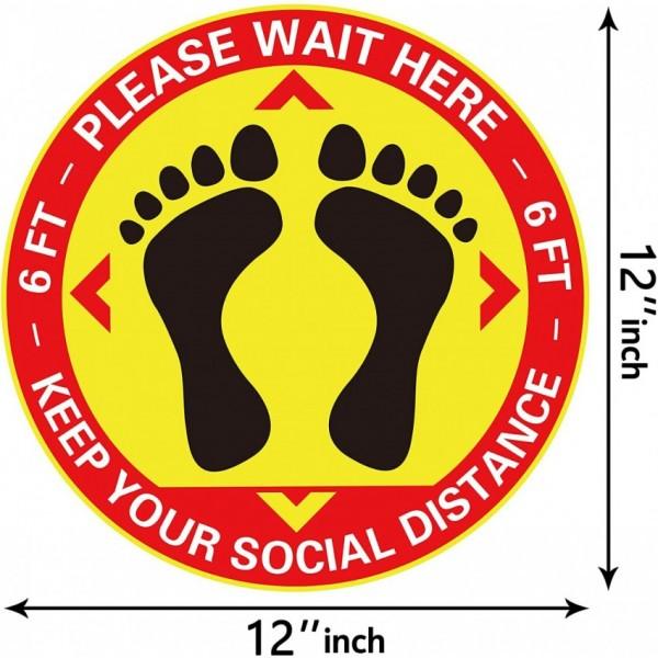 Social Distancing Floor Stickers - Pack Of 06