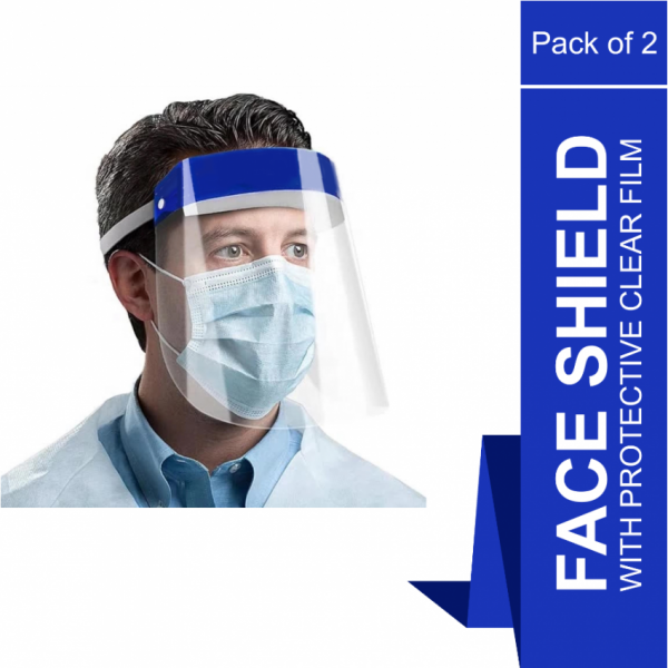 Face Shield With Protective Clear Film - Pack of 2