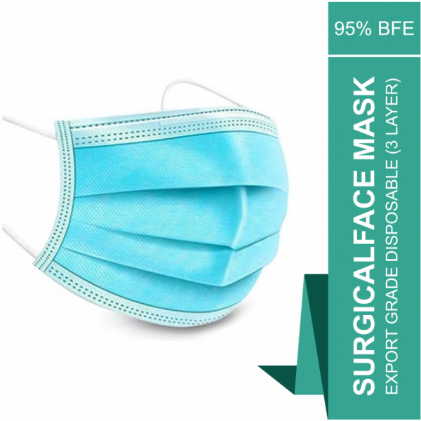Export Grade Disposable Surgical Face Mask (3 layer) - Pack of 50