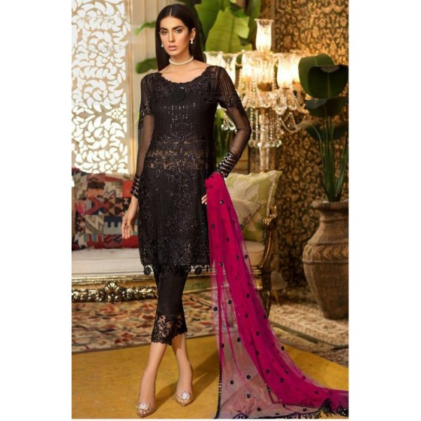 Chiffon Embroidery Unstitched Suit With Chiffon Embroidery Duppata