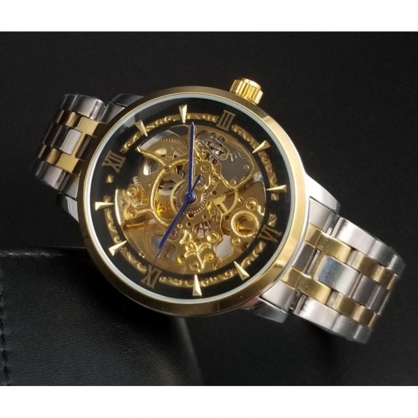 Skeleton watch for Gents in Silver and Gold Chain