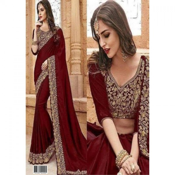 Latest Wedding Collection Chiffon with Golden Embroidery For Women