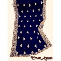 DORI EMBROIDERED SHAWL in Navy Blue Color