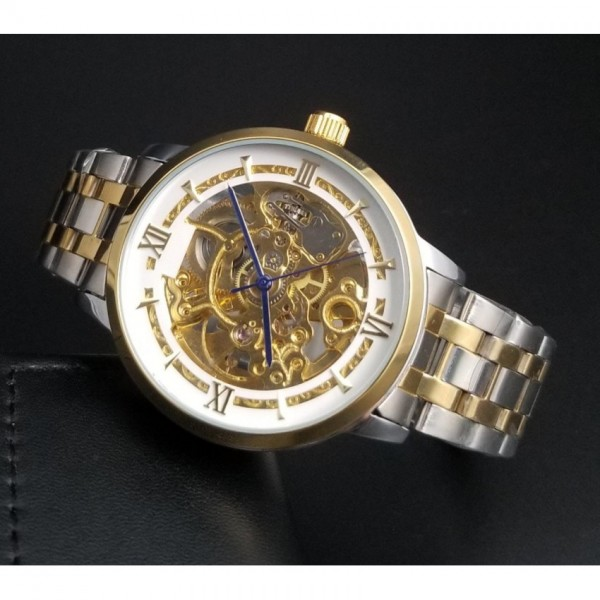 Skeleton Gents Watch with White Dial