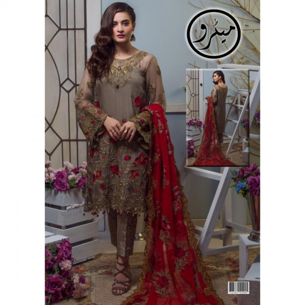 Grey and Red Chiffon Embroidery Unstitched Suit With Chiffon Embroidery Duppata
