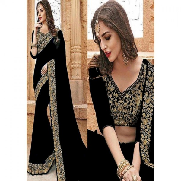 Saree Wedding Collection Black Chiffon with Golden Embroidery For Women