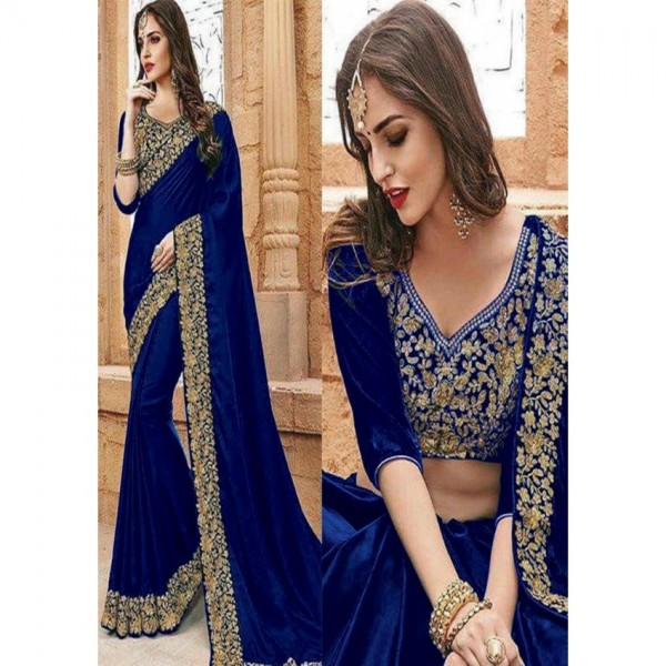Indian Bridal Saree Wedding Collection Chiffon with Golden Embroidery For Women