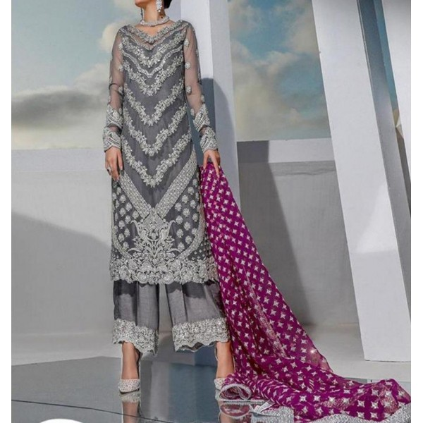 GRAY COLOR SUIT ON ORGANZA WITH PINK DUPATTA