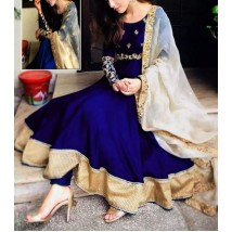 New Collection Chiffon Frock Embroidered Body Daman Full Ghair and Plan Trouser with Net Dupatta