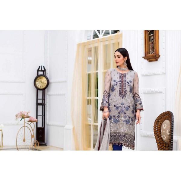 Stylish Chiffon Embroidrey Unstitched Dress For Women
