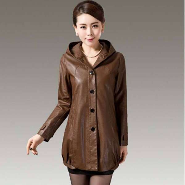 Women Leather Long Coat with Hoodie