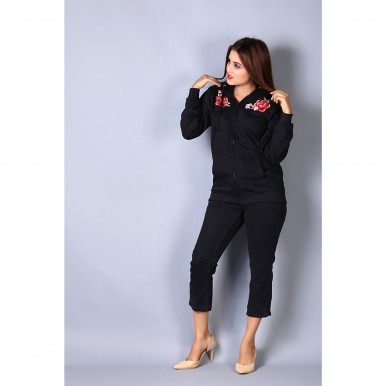 Fancy Floral Embroidered Black Zipper Hoodie For Women