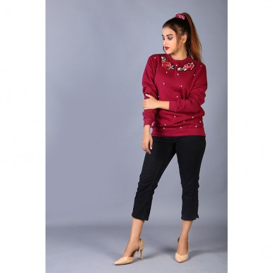 Rose Embroidered Embellished Maroon Fleece Top For Women
