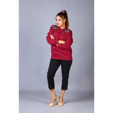 Blossom Rose Embroidered Maroon Fleece Sweatshirt For Women