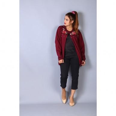 embellished maroon winter cape coat for women