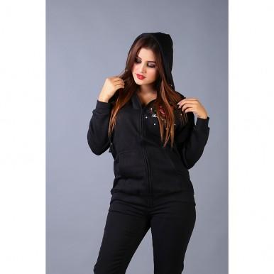 Black Embellished Zipper Hoodie For Women