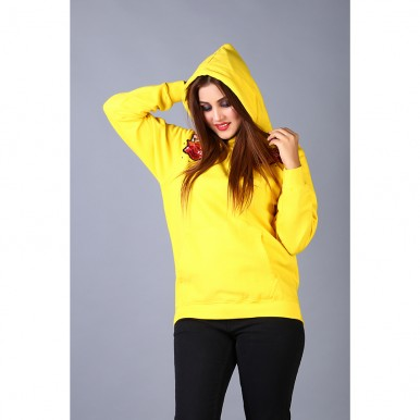 Floral Embroidered Yellow Hoodie For Women