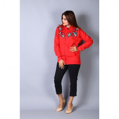 Floral Embroidered Red Zipper Hoodie For Women