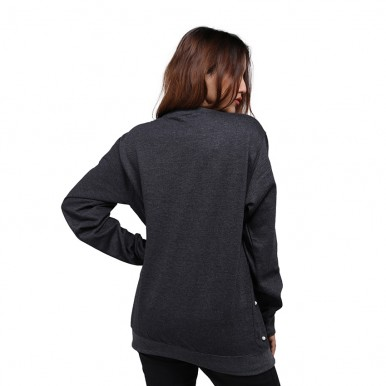 Dark Grey Pearl Embellished Sweatshirt For Women