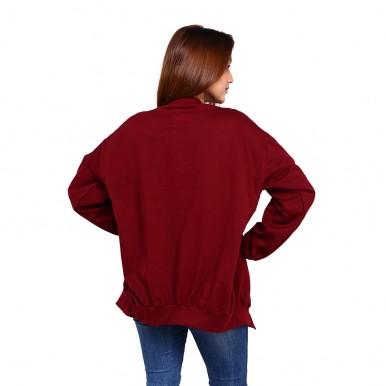 Maroon Front Open Cape Coat For Women