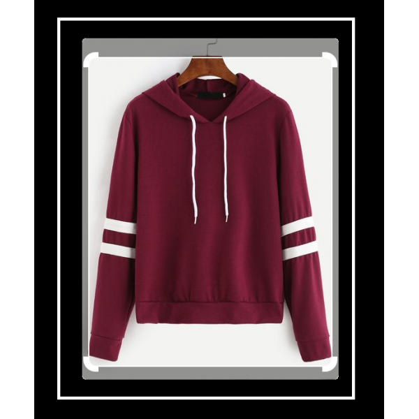 PLUS SIZE MAROON PULLOVER HOODIE FOR WOMEN