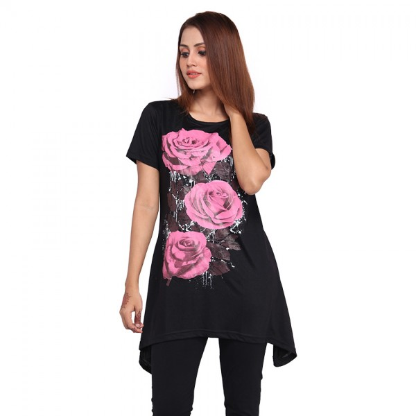 BLACK FLORAL PRINTED TOP FOR WOMEN
