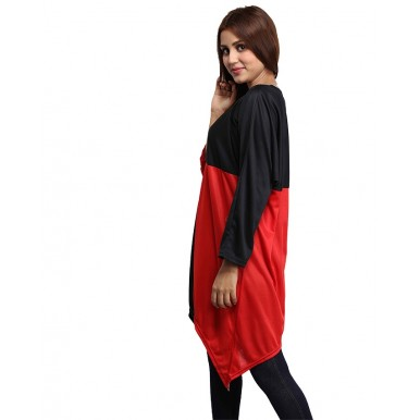 RED BLACK LOOSE TOP FOR WOMEN