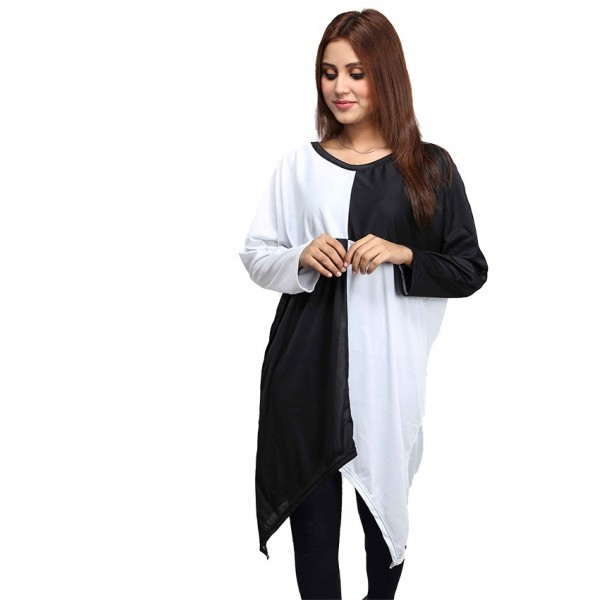 WHITE  BLACK LOOSE TOP FOR WOMEN