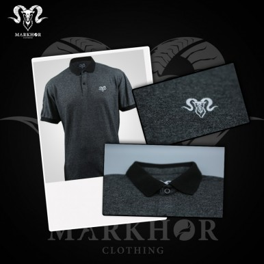 Royal White Embroidered Charcoal Color Summer Polo Shirt For Men