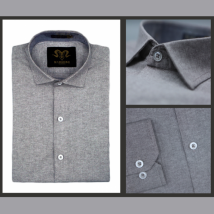 Ash Grey Chambray Cotton Slim Fit Formal Shirt For Men