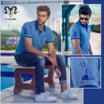 Blue Color Pique Cotton Summer Polo Shirt For Men