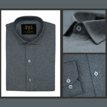 Charcoal Grey Chambray Cotton Slim Fit Formal Shirt For Men